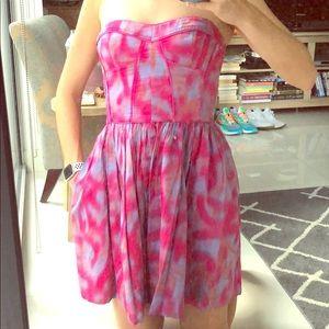 Rebecca Taylor sz 4 strapless bustier tie dye dres